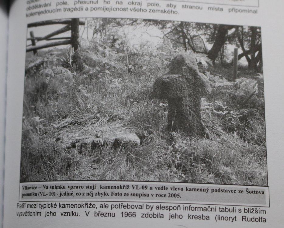 Publikace Vlkovice a Martinov /Historie a památky obcí/ Zdeňka Buchteleho obsahuje informaci, že jediné, co zbylo z tohoto pomníku je kamenný podstavec.