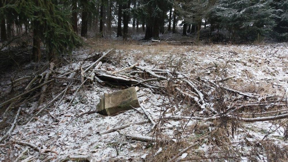 Část Schottova pomníku byla nalezena nedaleko cesty.