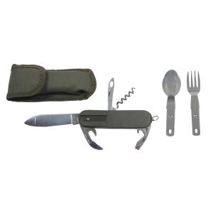 Nůž kapesní multifunkční s příborem - olivový