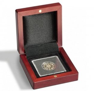 Kazeta na minci s mahagonovou texturou dřeva VOLTERRA pro 1 kapsli QUADRUM