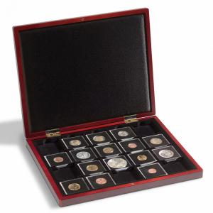 Kazeta na mince s mahagonovou texturou dřeva VOLTERRA na 20 kapslí QUADRUM
