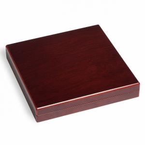 Kazeta na mince s mahagonovou texturou dřeva VOLTERRA pro 9 kapslí QUADRUM, nebo mincovních rámečků