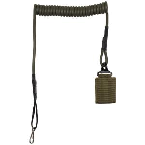 Bezpečnostní lanko spirálové s karabinou - olivové