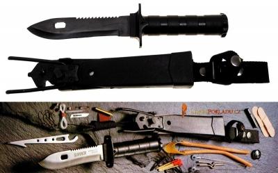 Nůž pro přežití SKAUT černý - survival sada