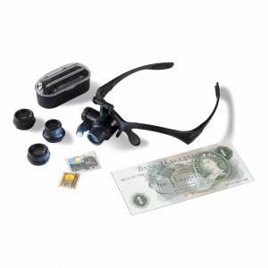 Brýle monokulární 4x výměnné objektivy 10x, 15x 20x a 25x s LED diodou