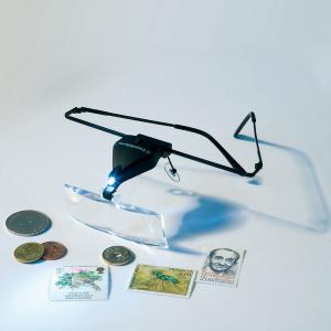 Brýle s lupou, 3x skla 1,5x, 2,5x, 3,5x s LED diodou