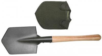 Lopatka pevná s dřevěnou rukojetí a pouzdrem na čepel