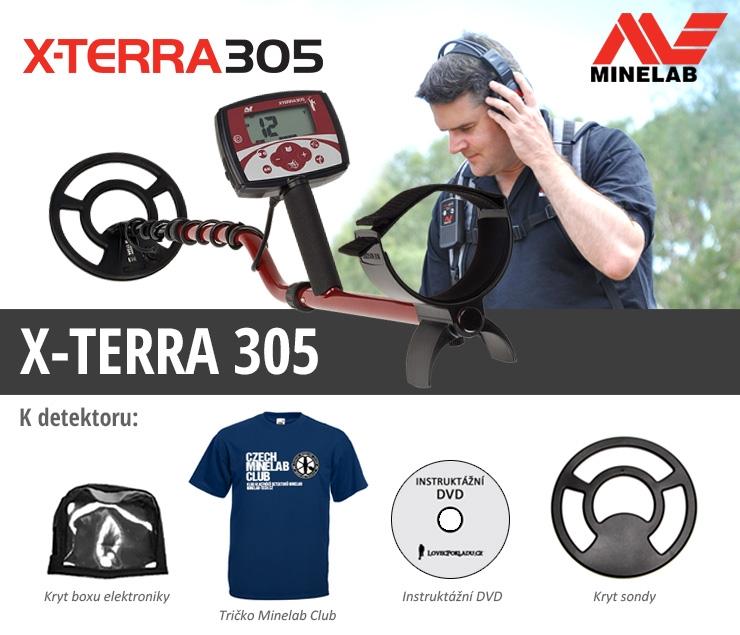 Detektor kovů Minelab X-Terra 305 v akčním setu s tričkem Minelab klubu