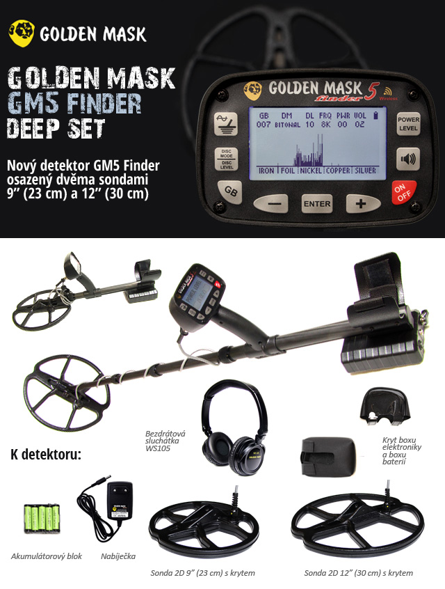 Detektor kovů Golden Mask GM5 Finder Deep Set