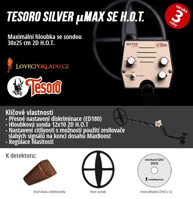 Detektor kovů Tesoro Silver uMAX osazený sondou 30x25 cm 2D HOT