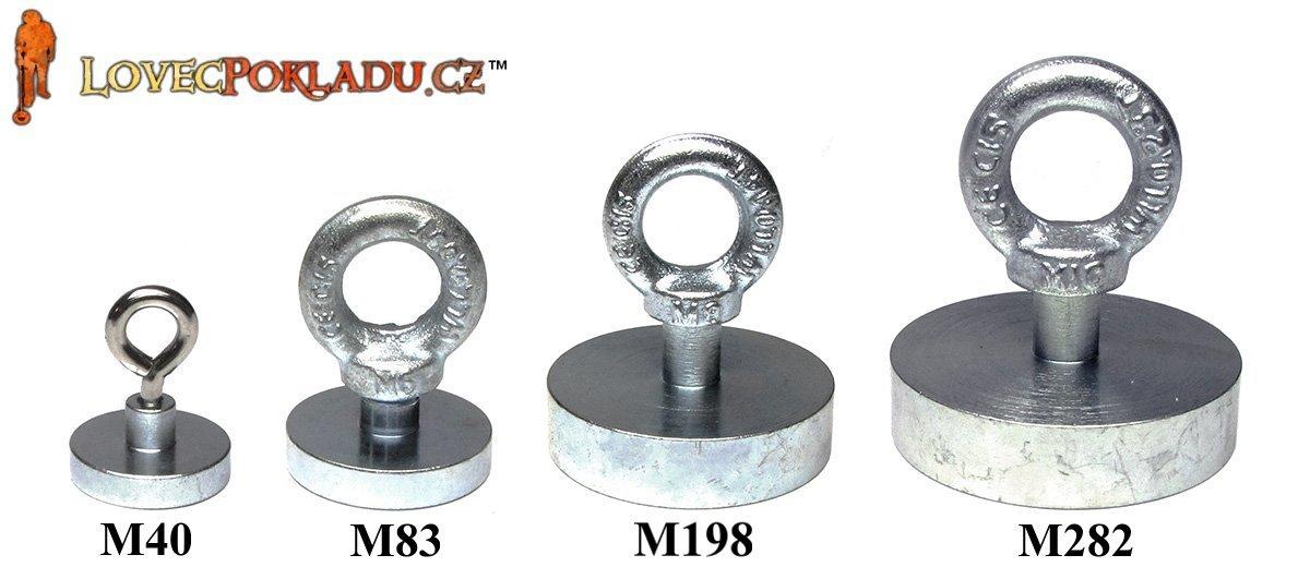 Magnety s okem - srovnání velikostí