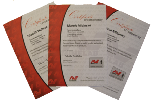 Servisní certifikáty Minelab